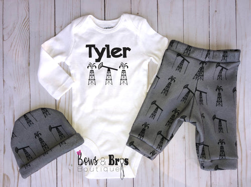 Custom Name Boys 4 Piece Oil Rig Outfit Set