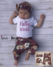 Load image into Gallery viewer, Hello World Mauve Floral Spring Baby Girl Coming Home Outfit- 1,2,3 or 4 Piece Set - Bows and Bros Boutique LLC