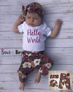 Hello World Mauve Floral Spring Baby Girl Coming Home Outfit- 1,2,3 or 4 Piece Set - Bows and Bros Boutique LLC