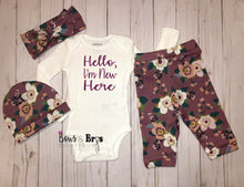 Load image into Gallery viewer, Hello I'm New Here Mauve Floral Spring Baby Girl Coming Home Outfit- 1,2,3 or 4 Piece Set - Bows and Bros Boutique LLC