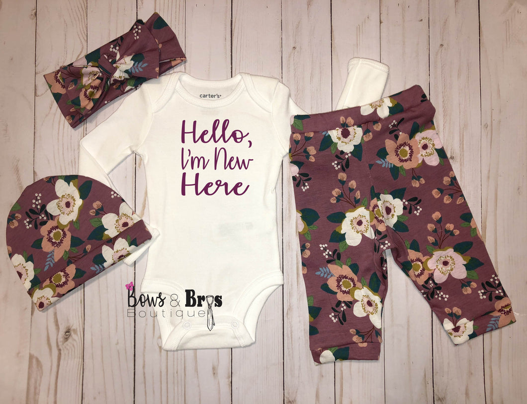 Hello I'm New Here Mauve Floral Spring Baby Girl Coming Home Outfit- 1,2,3 or 4 Piece Set - Bows and Bros Boutique LLC