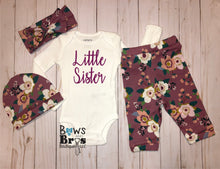Load image into Gallery viewer, Little Sister Mauve Floral Spring Baby Girl Coming Home Outfit- 1,2,3 or 4 Piece Set - Bows and Bros Boutique LLC