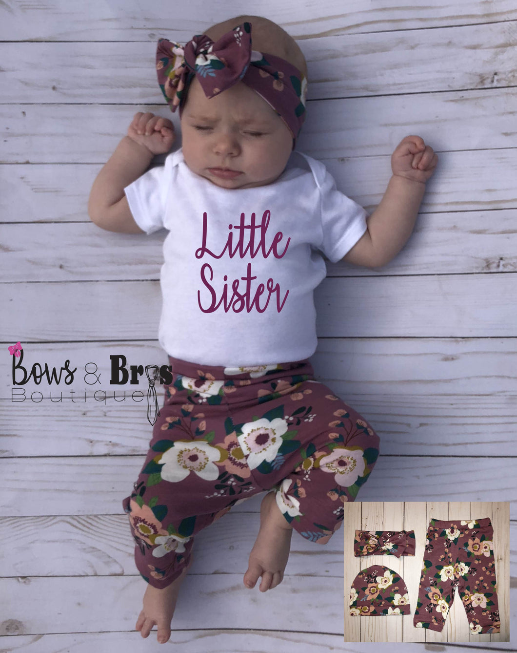 Little Sister Mauve Floral Spring Baby Girl Coming Home Outfit- 1,2,3 or 4 Piece Set - Bows and Bros Boutique LLC