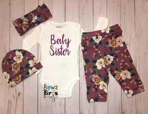 Baby Sister Mauve Floral Spring Baby Girl Coming Home Outfit- 1,2,3 or 4 Piece Set - Bows and Bros Boutique LLC