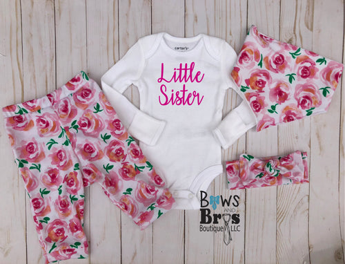 Little Sister Pink Rose Floral Baby Girl Coming Home Outfit- 1,2,3 or 4 Piece Set