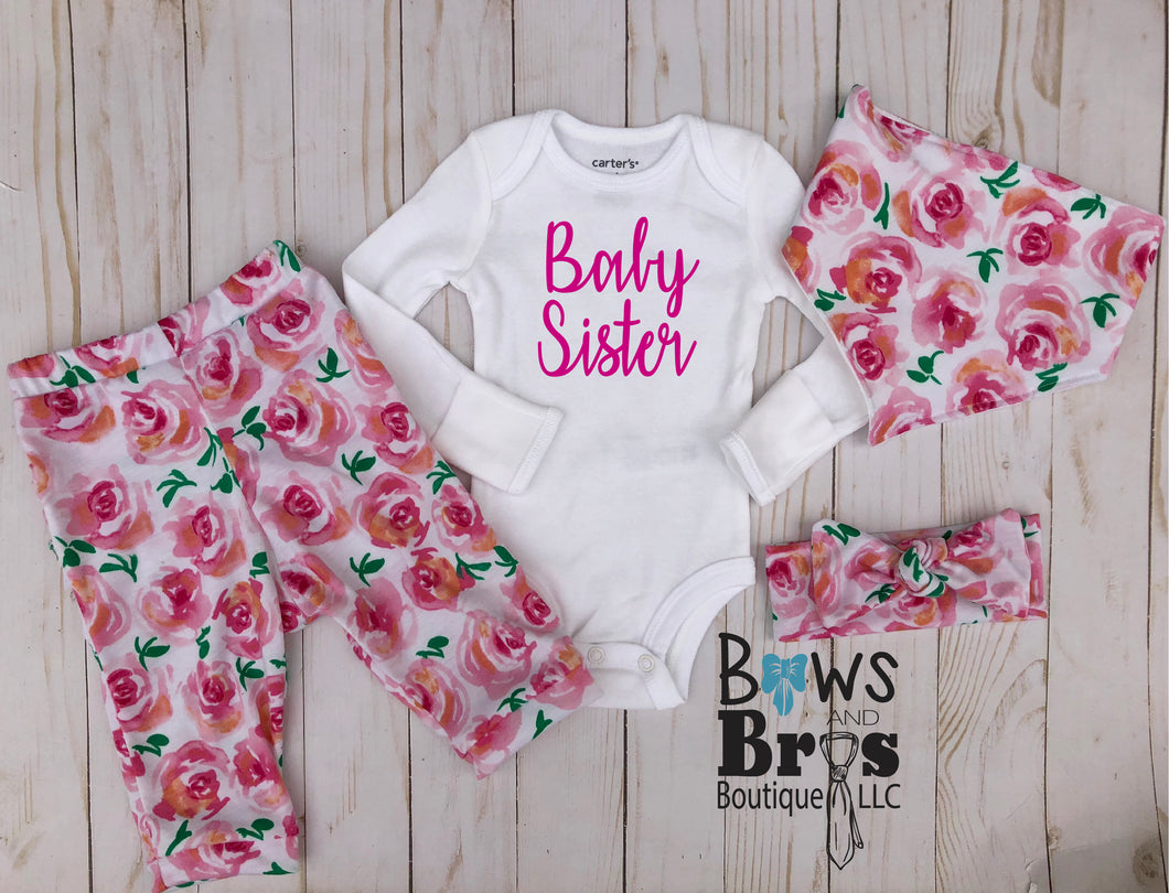 Baby Sister Pink Rose Floral Baby Girl Coming Home Outfit- 1,2,3 or 4 Piece Set - Bows and Bros Boutique LLC