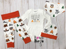 Load image into Gallery viewer, Hello I'm New Here Baby Boy Woodland Coming Home Outfit- 1,2,3 or 4 Piece Set - Bows and Bros Boutique LLC