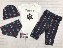 Load image into Gallery viewer, Captain Custom Name Anchors Baby Boy Coming Home Outfit- 1,2,3 or 4 Piece Set - Bows and Bros Boutique LLC