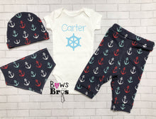 Load image into Gallery viewer, Captain Custom Name Anchors Baby Boy Coming Home Outfit - 1,2,3 or 4 Piece Set - Bows and Bros Boutique LLC
