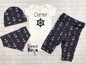 Captain Custom Name Anchors Baby Boy Coming Home Outfit- 1,2,3 or 4 Piece Set - Bows and Bros Boutique LLC