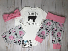 Load image into Gallery viewer, New to the Herd Pink Baby Girl Farm Coming Home Outfit- 1,2,3 or 4 Piece Set - Bows and Bros Boutique LLC