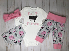 Load image into Gallery viewer, New to the Herd Baby Girl Pink Farm Outfit Set