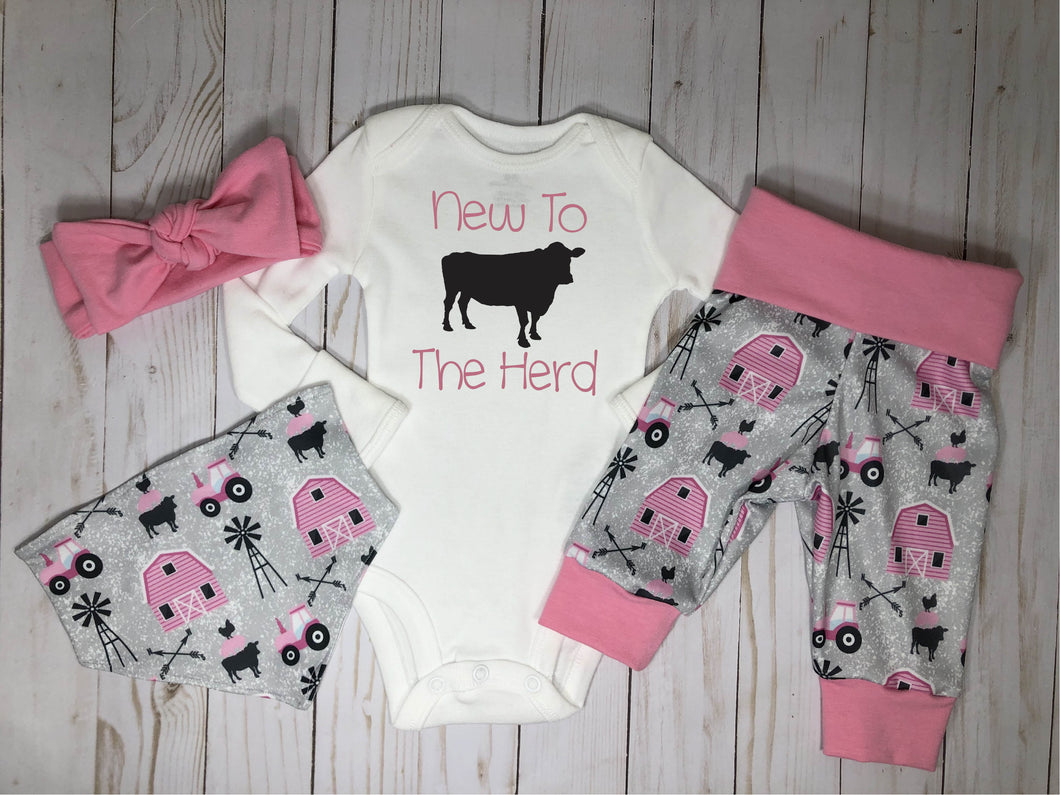 New to the Herd Baby Girl Pink Farm Outfit Set