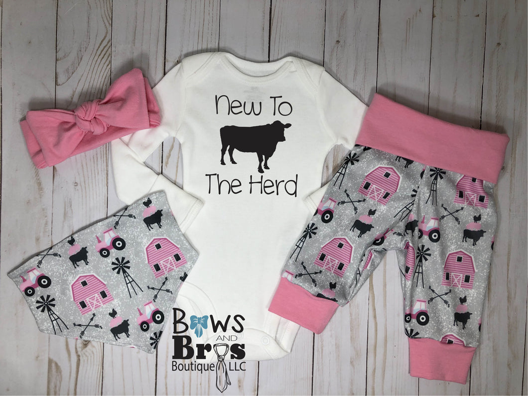 New to the Herd Pink Baby Girl Farm Coming Home Outfit- 1,2,3 or 4 Piece Set - Bows and Bros Boutique LLC