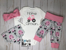 Load image into Gallery viewer, Home Grown Tractor Baby Girl Pink Farm Outfit Set