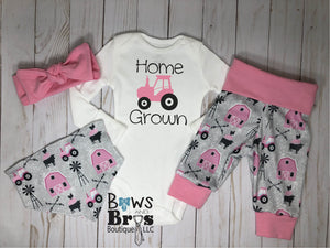Home Grown Tractor Baby Girl Pink Farm Coming Home Outfit- 1,2,3 or 4 Piece Set - Bows and Bros Boutique LLC