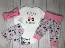 Load image into Gallery viewer, Future Farmer Tractor Baby Girl Pink Farm Coming Home Outfit- 1,2,3 or 4 Piece Set - Bows and Bros Boutique LLC