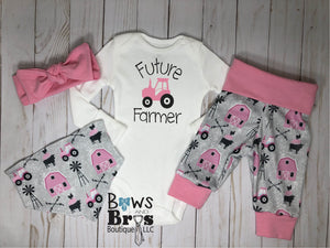 Future Farmer Tractor Baby Girl Pink Farm Coming Home Outfit- 1,2,3 or 4 Piece Set - Bows and Bros Boutique LLC