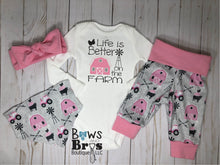 Load image into Gallery viewer, Life Is Better On The Farm Baby Girl Pink Farm Coming Home Outfit- 1,2,3 or 4 Piece Set - Bows and Bros Boutique LLC