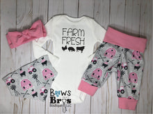 Load image into Gallery viewer, Farm Fresh Baby Girl Pink Farm Outfit Set