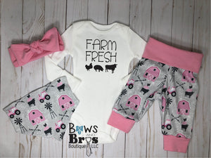 Farm Fresh Baby Girl Pink Farm Outfit Set