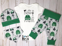 Load image into Gallery viewer, Life Is Better On The Farm Baby Boy Green Farm Coming Home Outfit- 1,2,3 or 4 Piece Set - Bows and Bros Boutique LLC