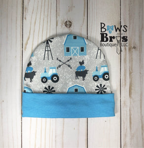 Future Farmer Tractor Baby Boy Blue Farm Coming Home Outfit- 1,2,3 or 4 Piece Set - Bows and Bros Boutique LLC
