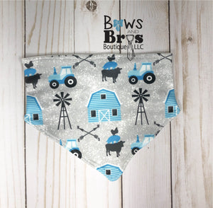 Home Grown Tractor Baby Boy Blue Farm Coming Home Outfit- 1,2,3 or 4 Piece Set - Bows and Bros Boutique LLC