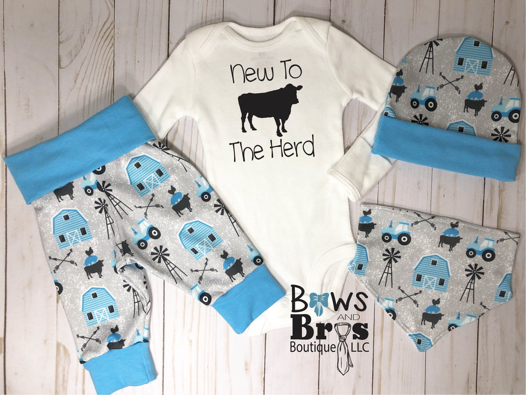 New to the Herd Baby Boy Farm Outfit Set