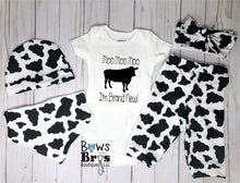 Load image into Gallery viewer, Moo moo moo I'm Brand New Cow Print Gender Neutral Coming Home Outfit- 1,2,3,4 or 5 Piece Set - Bows and Bros Boutique LLC