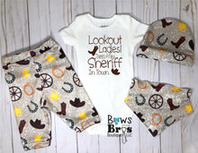 Load image into Gallery viewer, Lookout Ladies There's A New Sheriff In Town Baby Cowboy Coming Home Outfit- 1,2,3 or 4 Piece Set - Bows and Bros Boutique LLC