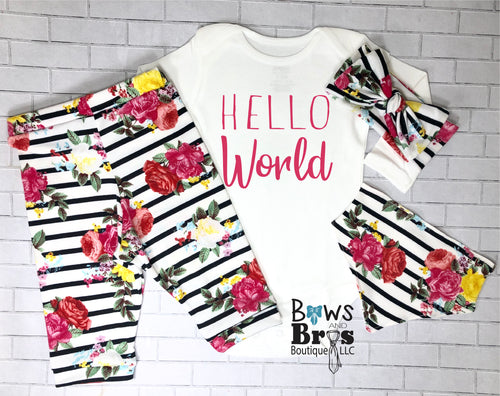 Hello World Striped Floral Baby Girl Coming Home Outfit- 1,2,3 or 4 Piece Set