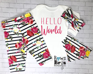 Hello World Striped Floral Baby Girl Coming Home Outfit- 1,2,3 or 4 Piece Set - Bows and Bros Boutique LLC