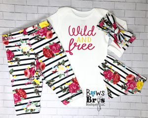 Wild and Free Striped Floral Baby Girl Coming Home Outfit- 1,2,3 or 4 Piece Set - Bows and Bros Boutique LLC