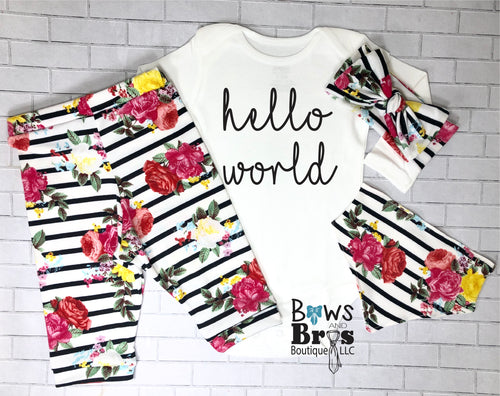 Hello World Striped Floral Baby Girl Coming Home Outfit - 1,2,3 or 4 Piece Set