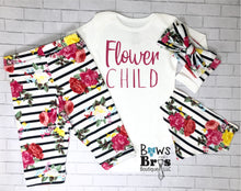 Load image into Gallery viewer, Flower Child Striped Floral Baby Girl Coming Home Outfit - 1,2,3 or 4 Piece Set - Bows and Bros Boutique LLC