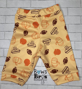 Football, Turkey, Pumpkin Pie Gender Neutral Thanksgiving Outfit- 1,2,3,4 or 5 Piece Set - Bows and Bros Boutique LLC