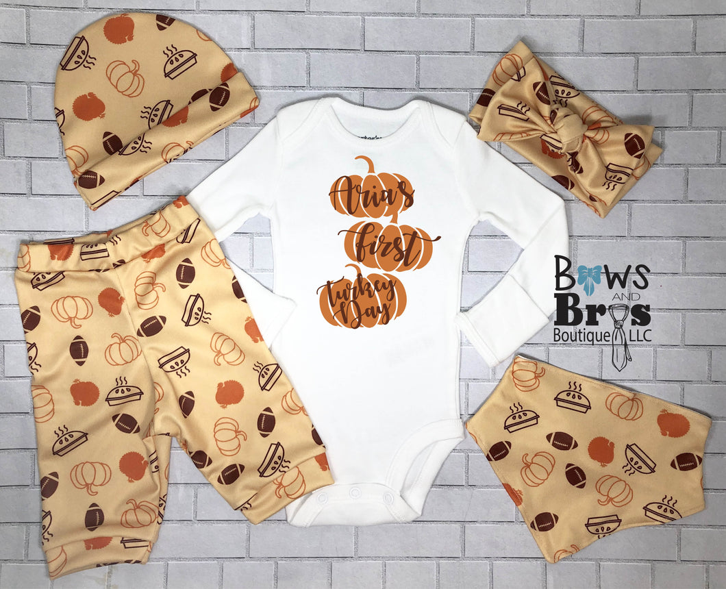 Custom Name First Turkey Day Gender Neutral Thanksgiving Outfit- 1,2,3,4 or 5 Piece Set - Bows and Bros Boutique LLC