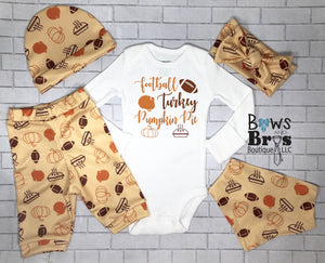 Football Turkey and Pumpkin Pie Unisex Outfit Set