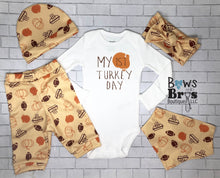 Load image into Gallery viewer, My First Turkey Day Gender Neutral Baby Thanksgiving Outfit- 1,2,3,4 or 5 Piece Set - Bows and Bros Boutique LLC