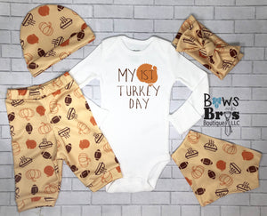 My First Turkey Day Gender Neutral Baby Thanksgiving Outfit- 1,2,3,4 or 5 Piece Set - Bows and Bros Boutique LLC