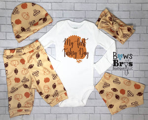 My First Turkey Day Unisex Outfit Set - Bows and Bros Boutique LLC