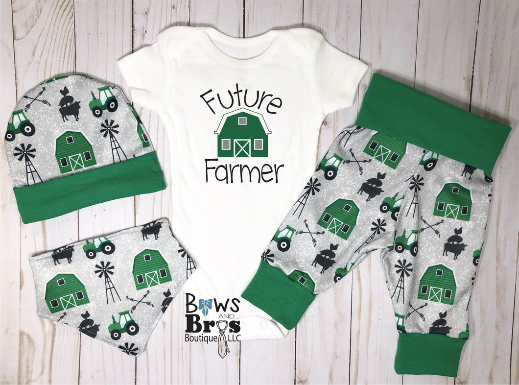 Future Farmer Baby Boy Green Farm Coming Home Outfit- 1,2,3 or 4 Piece Set - Bows and Bros Boutique LLC