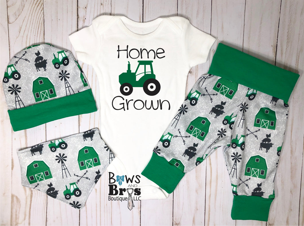 Home Grown Tractor Baby Boy Green Farm Coming Home Outfit- 1,2,3 or 4 Piece Set - Bows and Bros Boutique LLC