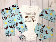 Load image into Gallery viewer, Newest Little Cowboy In Town Baby Boy Blue Cowboy Outfit- 1,2,3 or 4 Piece Set - Bows and Bros Boutique LLC