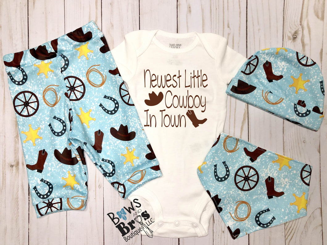 Newest Little Cowboy In Town Baby Boy Blue Cowboy Outfit- 1,2,3 or 4 Piece Set - Bows and Bros Boutique LLC