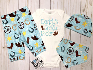 Daddy's Shotgun Rider Blue Boys Cowboy Coming Home Outfit - 1,2,3 or 4 Piece Set - Bows and Bros Boutique LLC