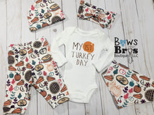 Load image into Gallery viewer, My First Turkey Day Gender Neutral Baby First Thanksgiving Outfit- 1,2,3,4 or 5 Piece Set - Bows and Bros Boutique LLC