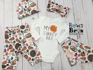 My First Turkey Day Gender Neutral Baby First Thanksgiving Outfit- 1,2,3,4 or 5 Piece Set - Bows and Bros Boutique LLC