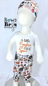 A Little Pumpkin A Lot of Spice Gender Neutral First Thanksgiving Outfit- 1,2,3,4 or 5 Piece Set - Bows and Bros Boutique LLC